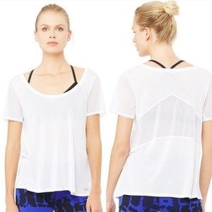 ALO Yoga Luxx White Mesh Short Sleeve Workout Top